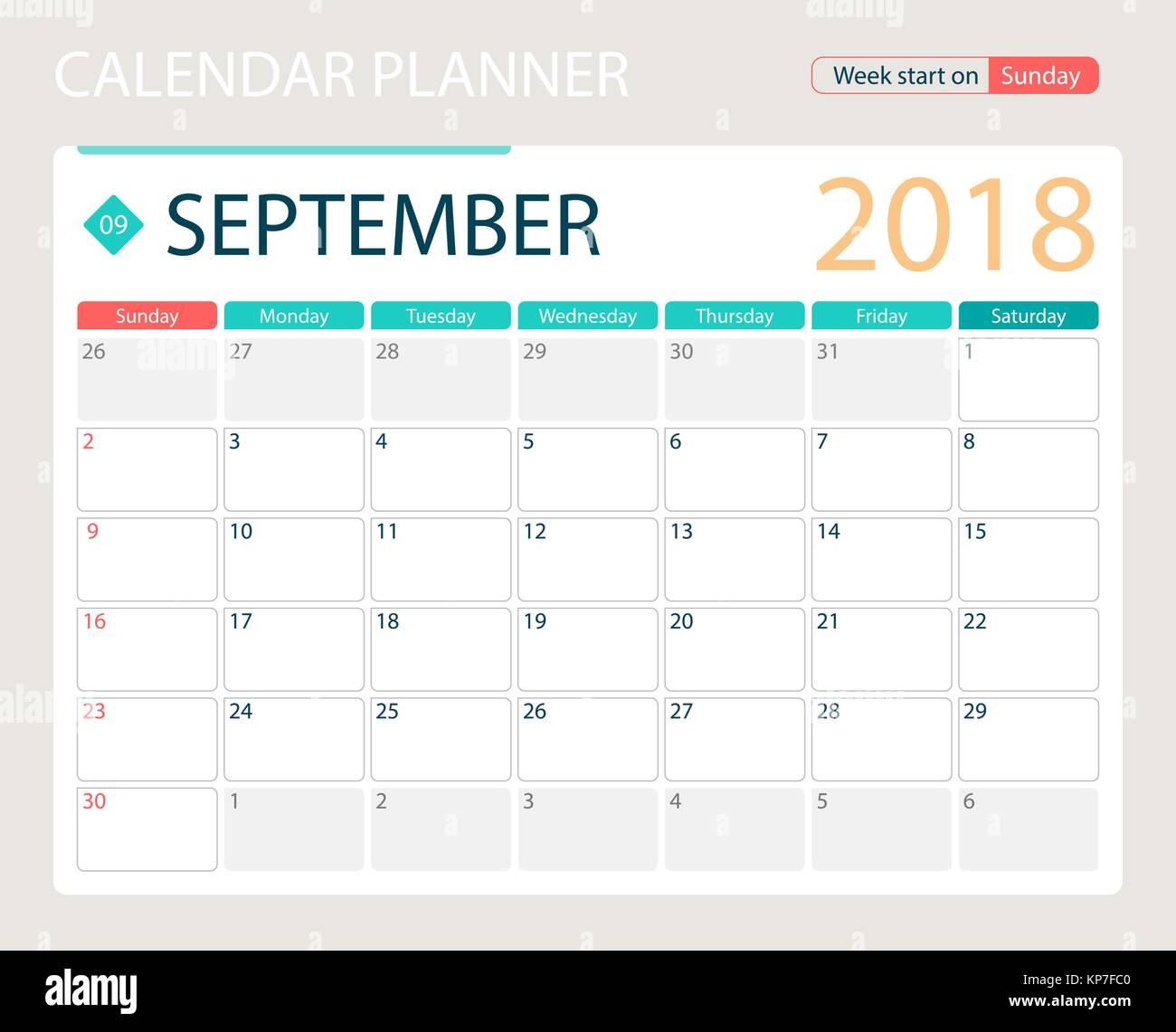 Calendario A Settimane.Settembre 2018 Illustrazione Vettoriale O Di Calendario