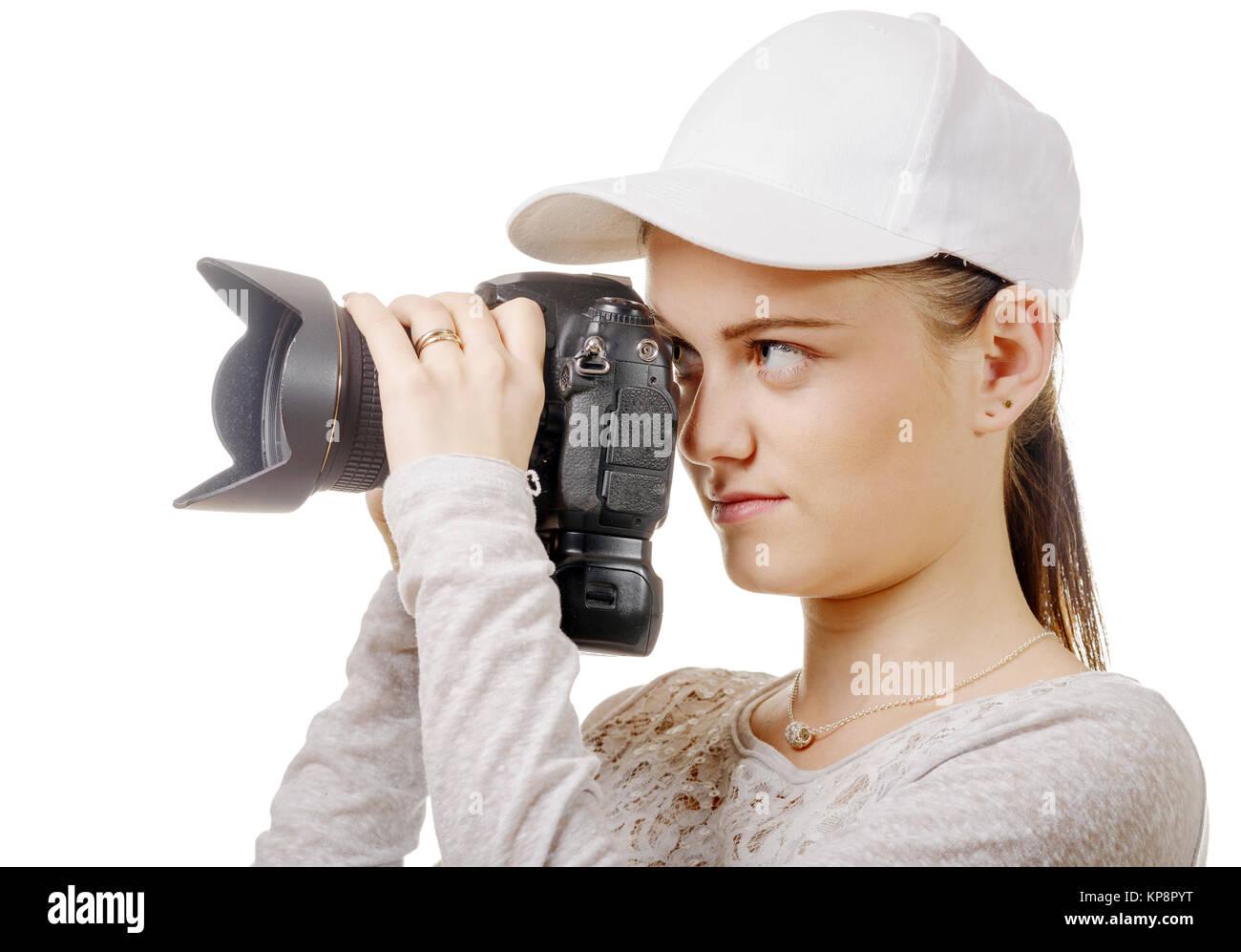 Giovane fotografo donna con cappello bianco isolato su bianco Foto ... ed6915187c97
