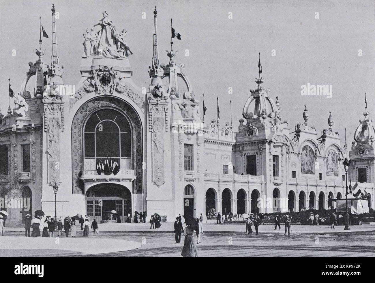 Palais des produce nationales, Esposizione universale 1900 a Parigi, immagine dal settimanale francese quotidiano Immagini Stock