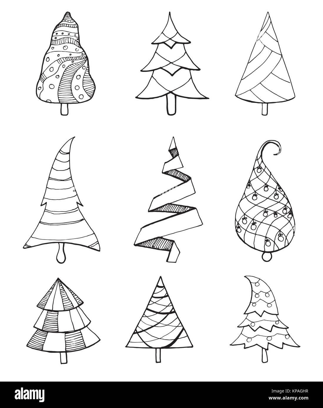 Impostare Decorativo Di Alberi Di Natale Illustrazione Vettoriale