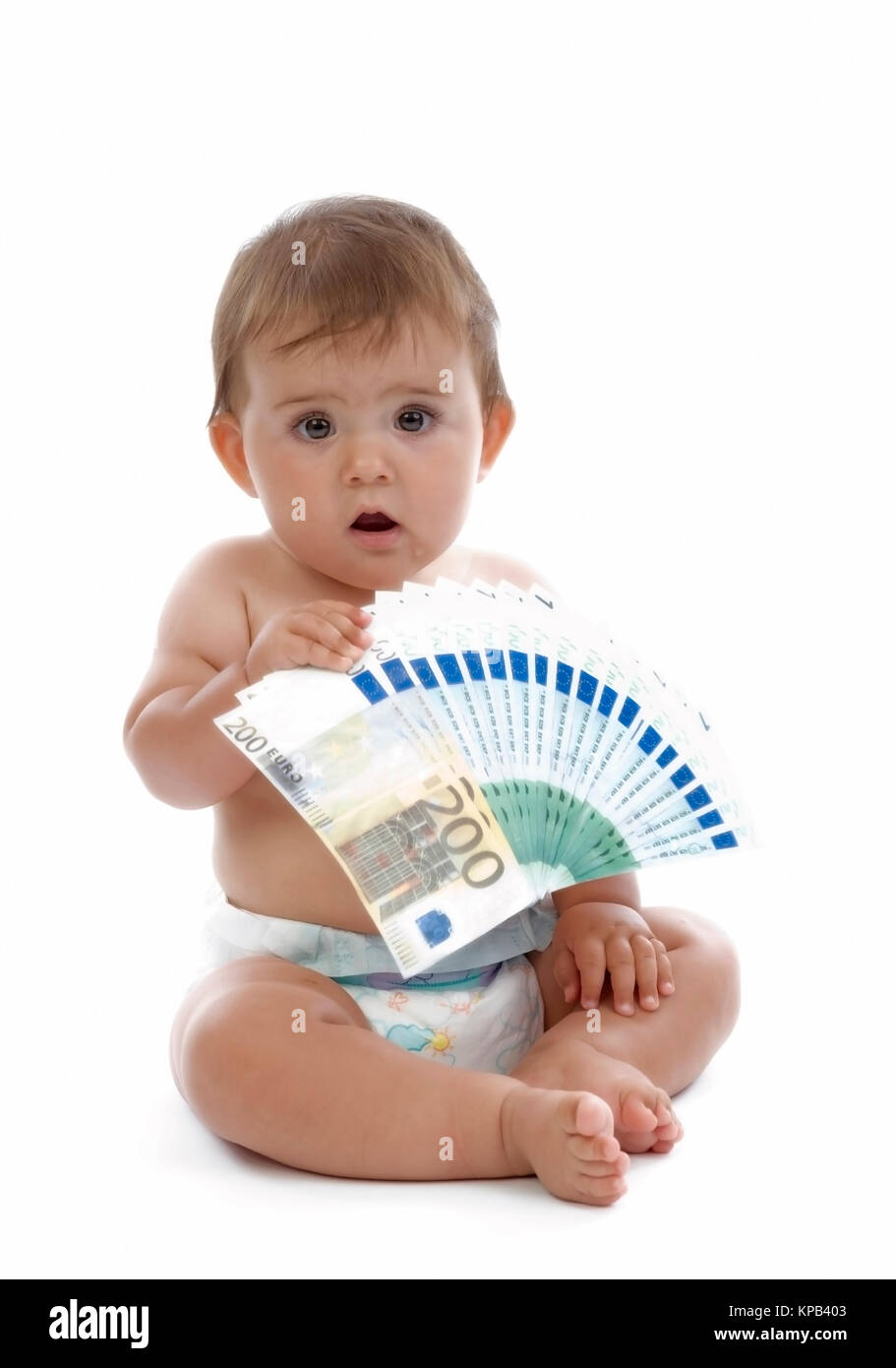 Modello di rilascio, Kleinkind mit Geldscheinen, Symbolbild Kindergeld - bambino con il denaro Immagini Stock