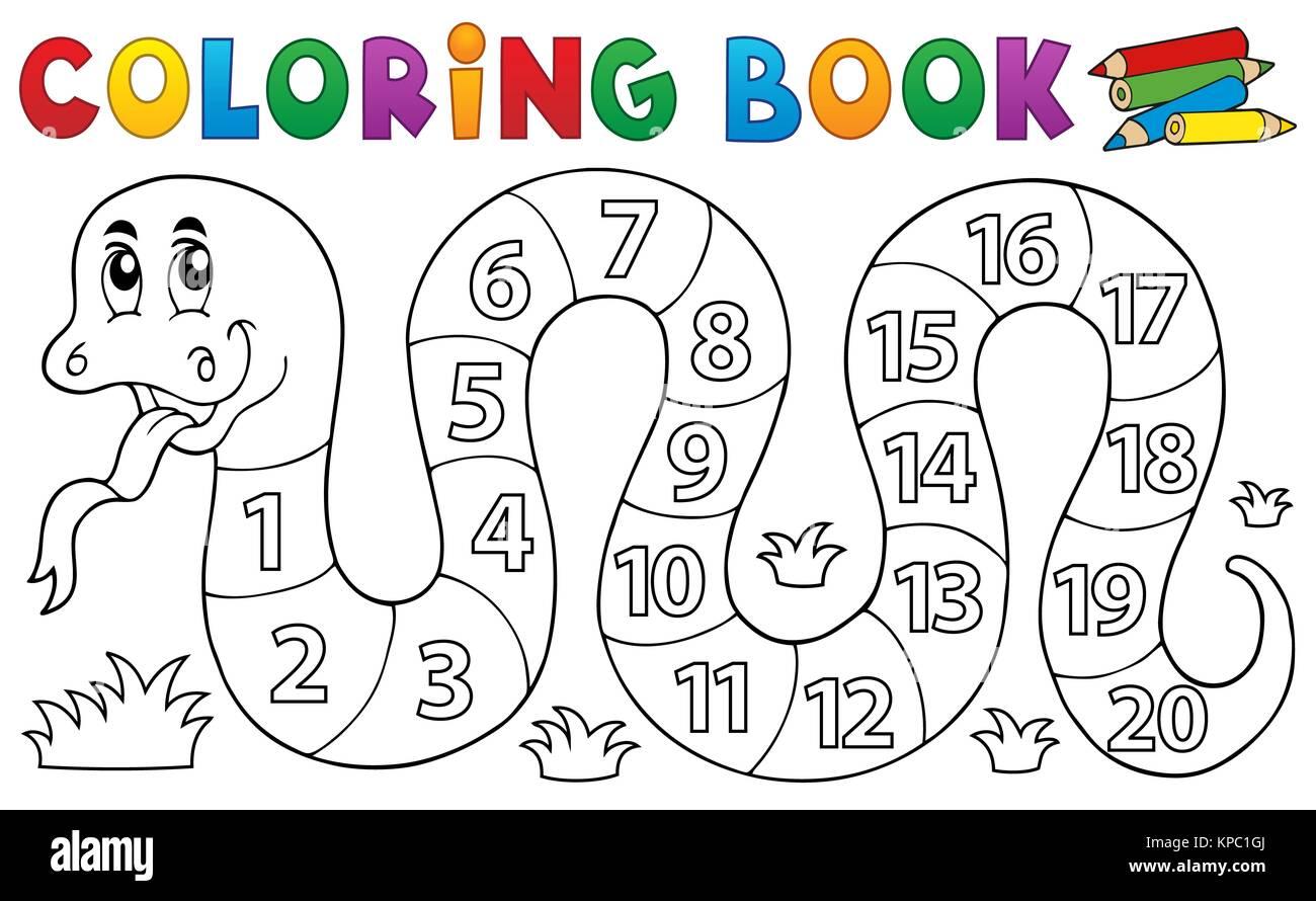 Libro Da Colorare Serpente Con Tema I Numeri Foto Immagine Stock