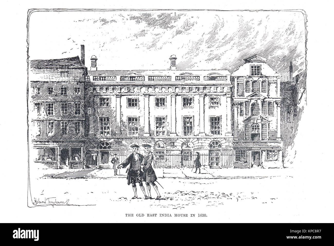 Il vecchio East India House, Londra nel 1630 Immagini Stock