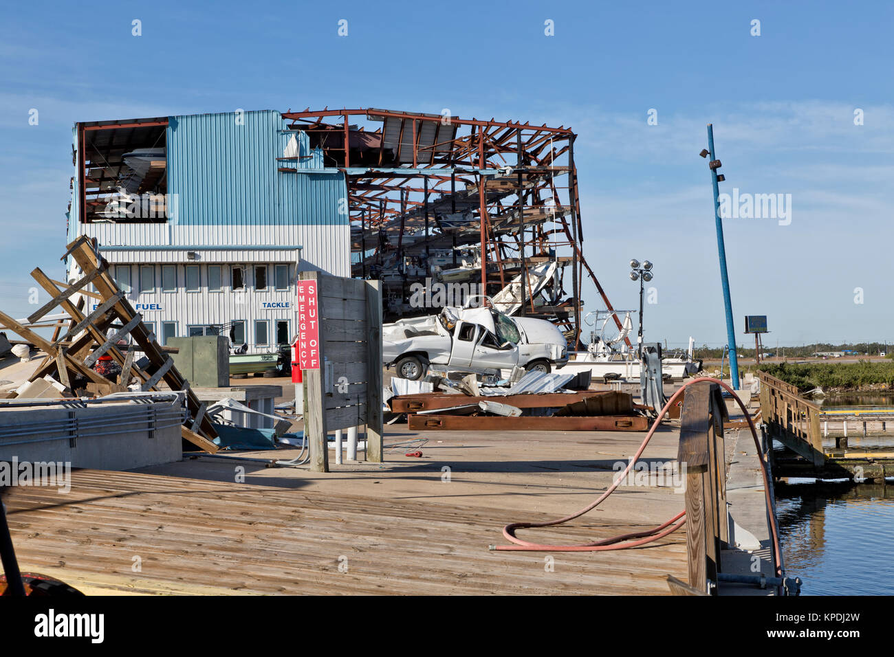 """Uragano """"Harvey"""" 2017 distruzione delle Cove Harbour Marina & pila a secco, impianto di stoccaggio, Immagini Stock"""