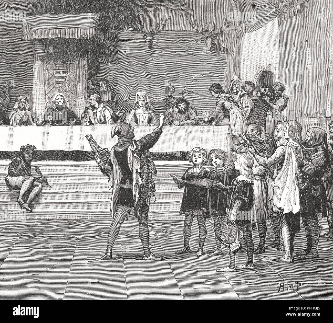 Giullari in un palazzo del XIV secolo banchetto Immagini Stock