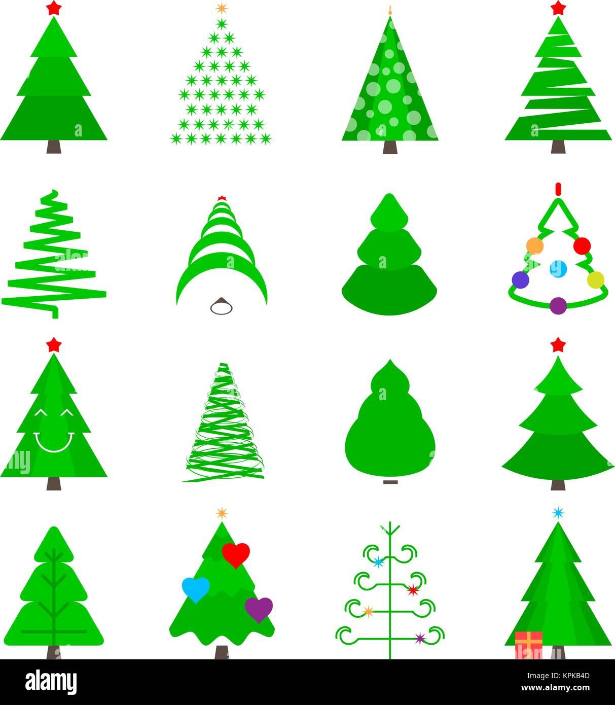 Immagini Stilizzate Di Natale.Il Verde Albero Di Natale Il Set Di Icone Vettore