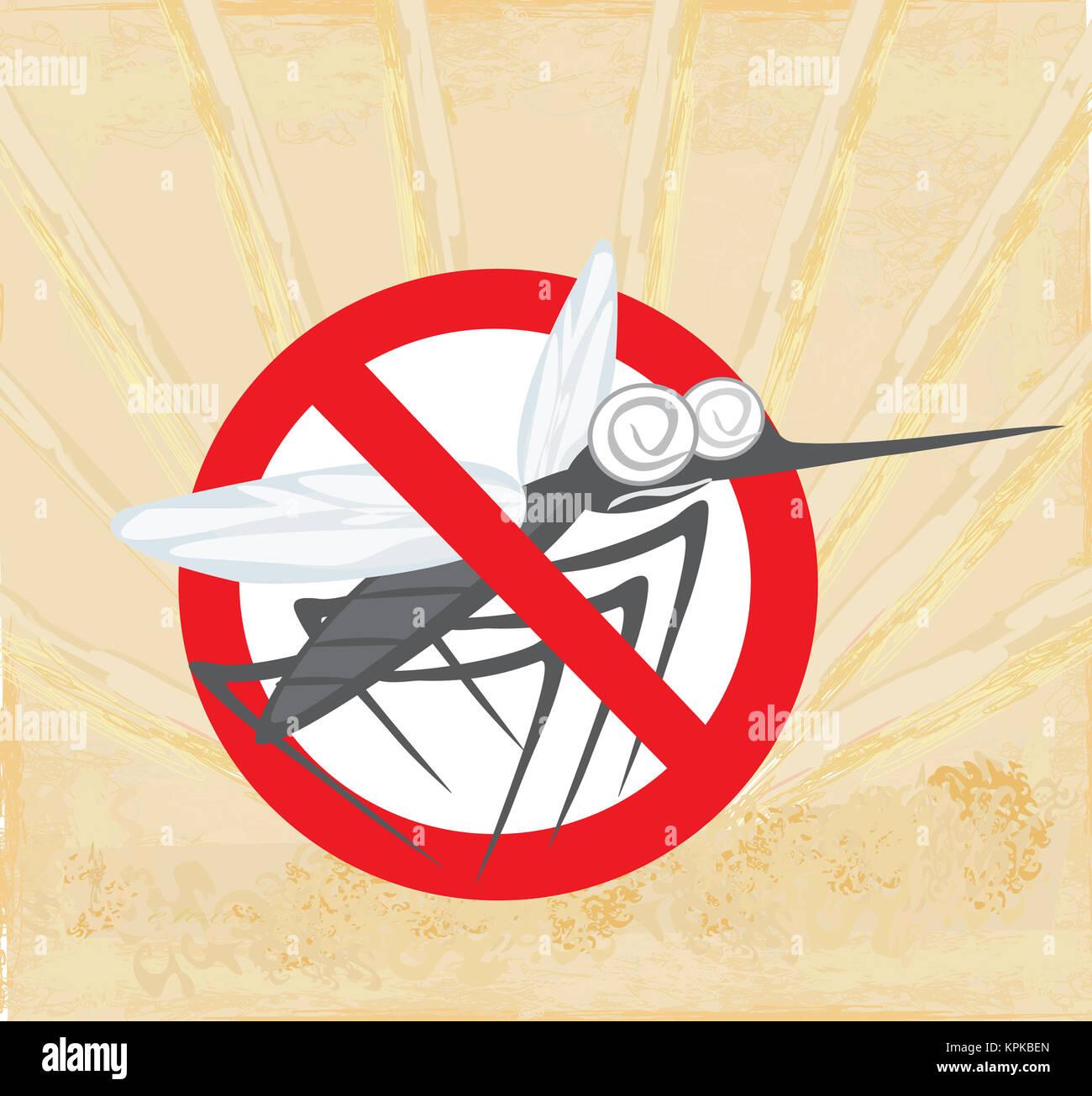 Anti mosquito segno con un simpatico cartoon zanzara foto