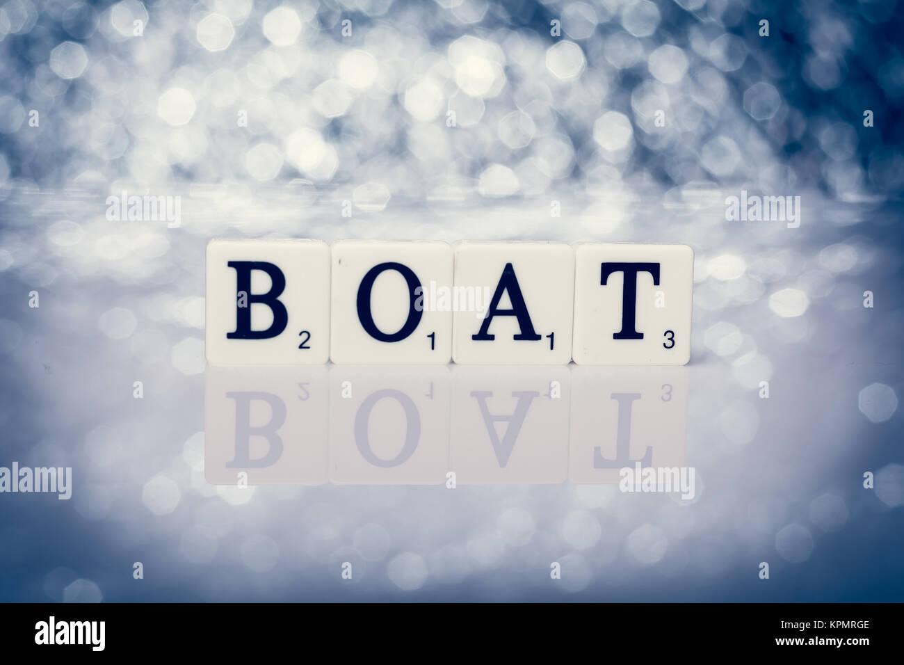 Parola scritta di piastrelle con lettere barca foto immagine