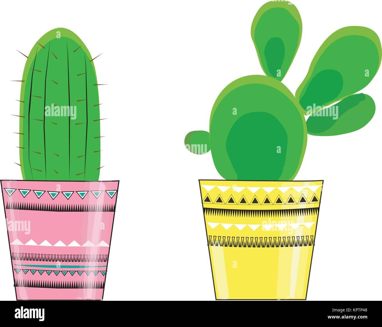 Illustrazione vettoriale delle tre cactus in vasi con un messaggio di vita e di cactus. Immagini Stock