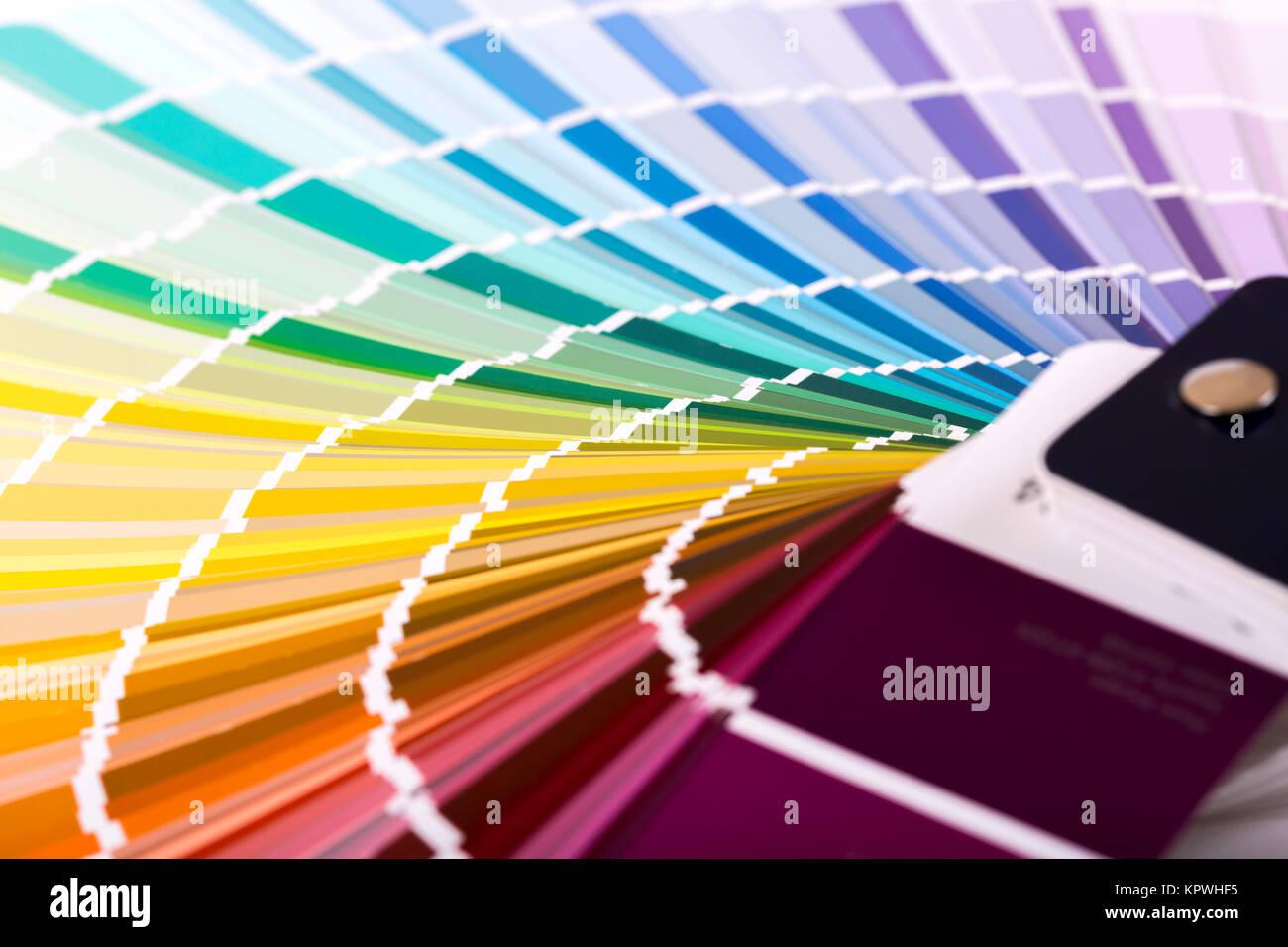 Primo piano della vernice colore campione catalogo Immagini Stock