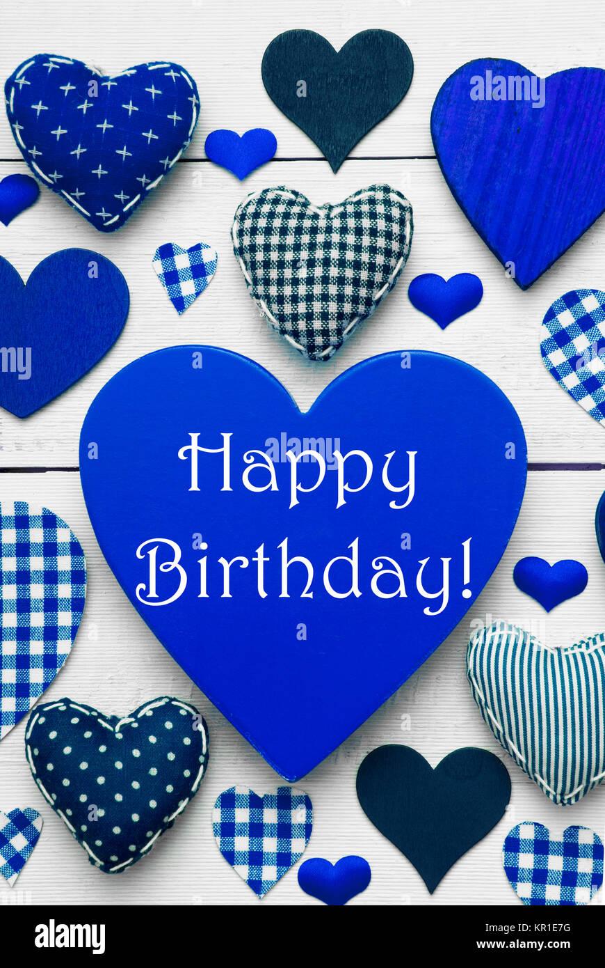Blu cuore verticale texture con testo in inglese buon compleanno