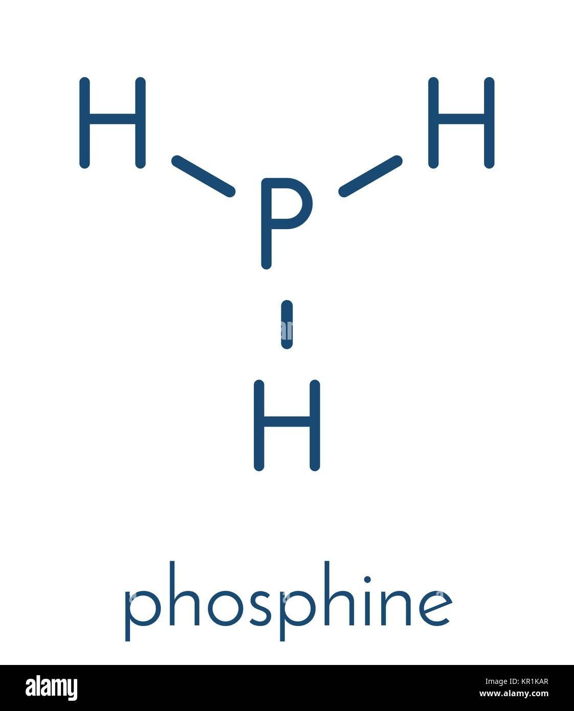 Fosfina (phosphane, PH3) molecola. Utilizzato come reagente in chimica e  come fumigante in agricoltura. Formula di scheletro Immagine e Vettoriale -  Alamy