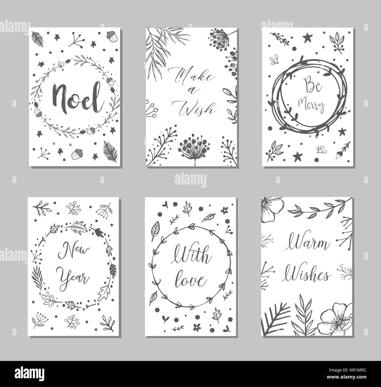 Buon Natale Del C Testo.Nuovo Anno E Buon Natale Decorazione Set Tipografia Set I Simboli
