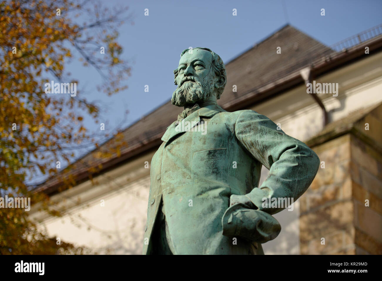Alfred groppa monumento, mercato, cibo, Renania settentrionale-Vestfalia, Germania, Alfred-Krupp-Denkmal, Markt, Immagini Stock