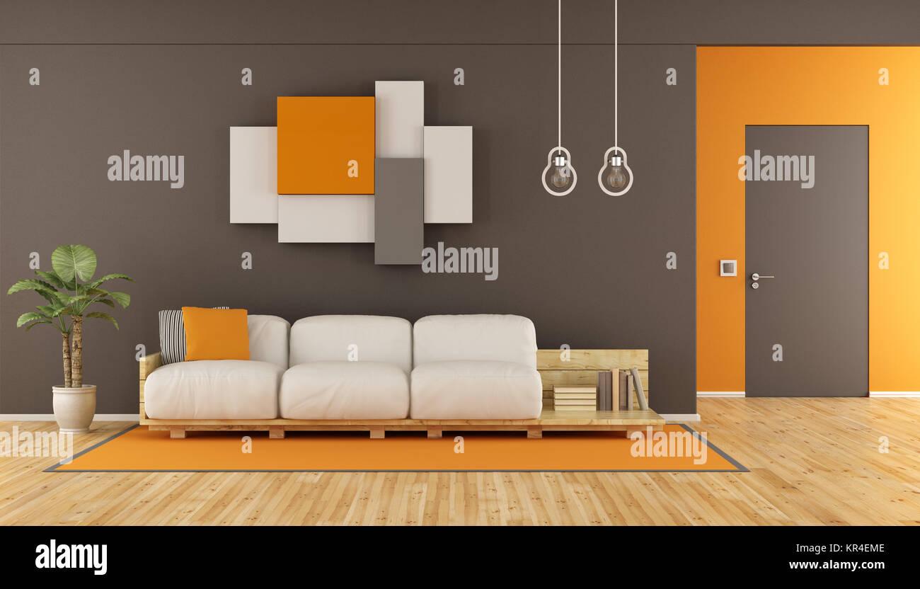 Marrone e arancione soggiorno moderno Foto & Immagine Stock ...