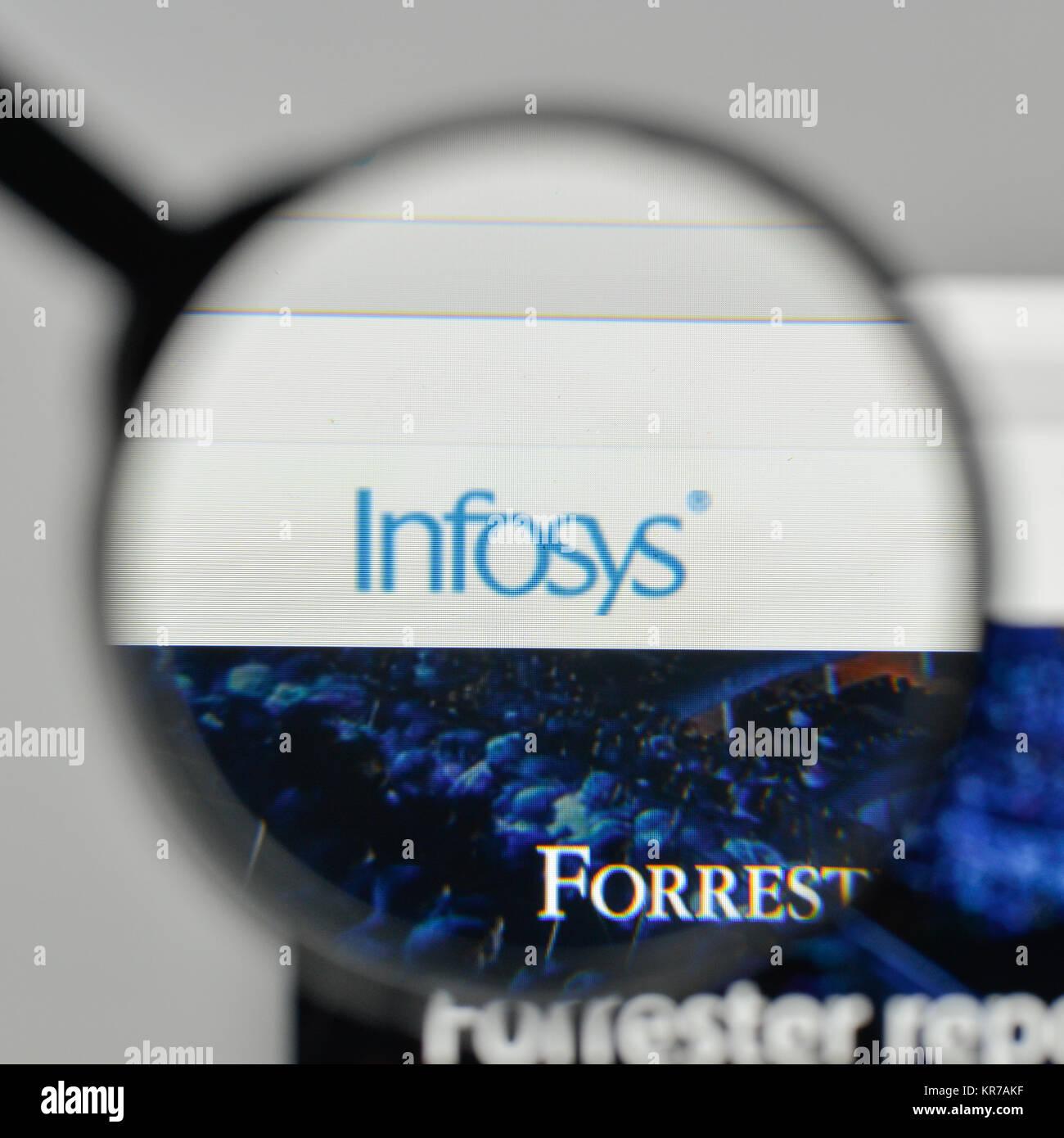 Milano, Italia - 1 Novembre 2017: Infosys logo sulla homepage del sito web. Immagini Stock