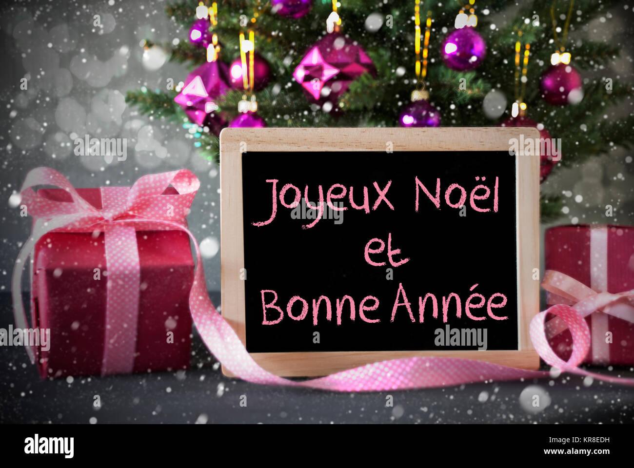 Auguri Di Buon Natale E Felice Anno Nuovo In Francese.Lavagna Con Testo Francese Joyeux Noel Et Bonne Annee
