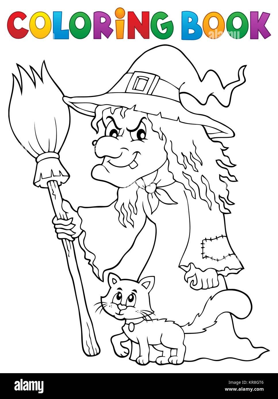 Libro da colorare strega con cat e Ginestra Foto   Immagine Stock ... 08ee3b531111