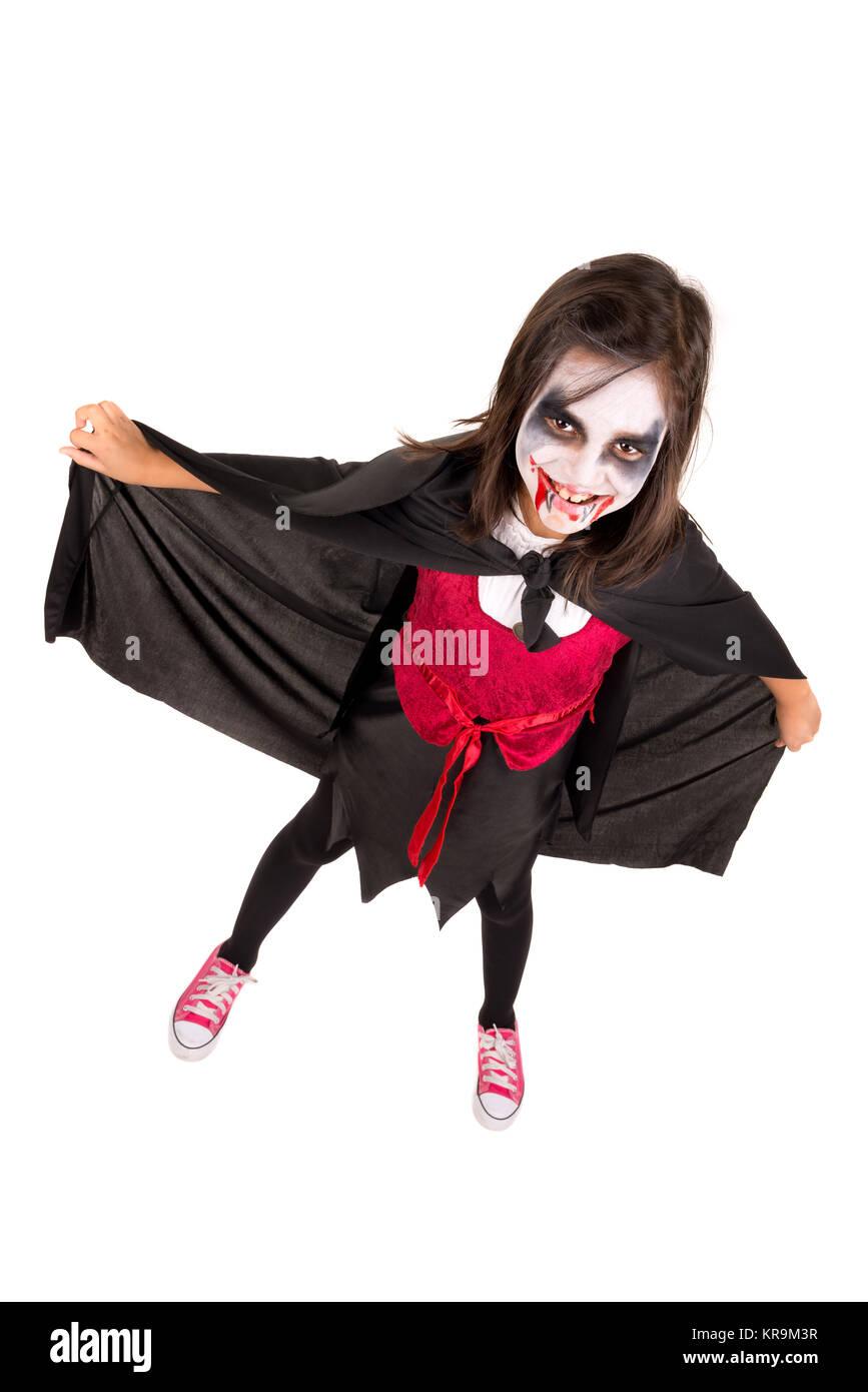 La Ragazza di Halloween costume vampiro Immagini Stock