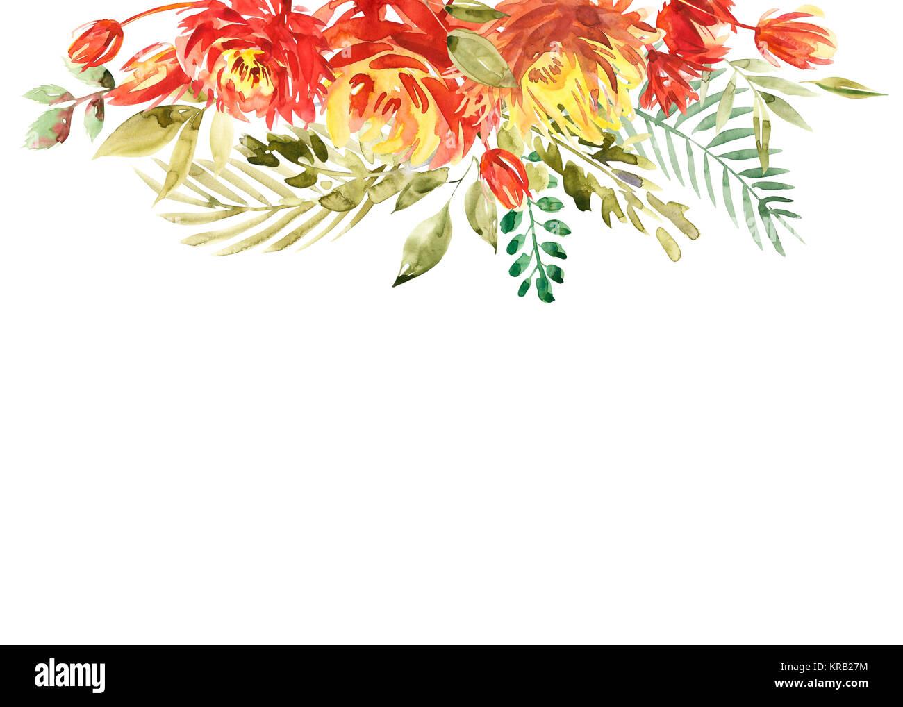 Coloratissimi fiori acquarello di confine. Dipinta sullo sfondo di fiori. Isolato su sfondo bianco Foto Stock