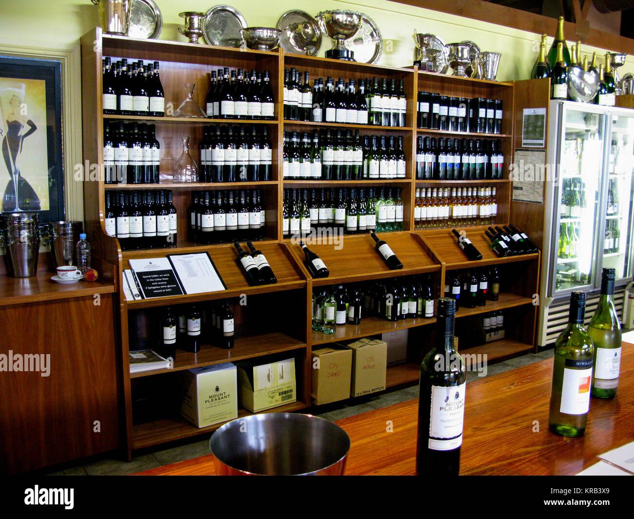 La Hunter Valley Mount Pleasants Vineyrad shop per la vendita ai turisti 2009 Immagini Stock
