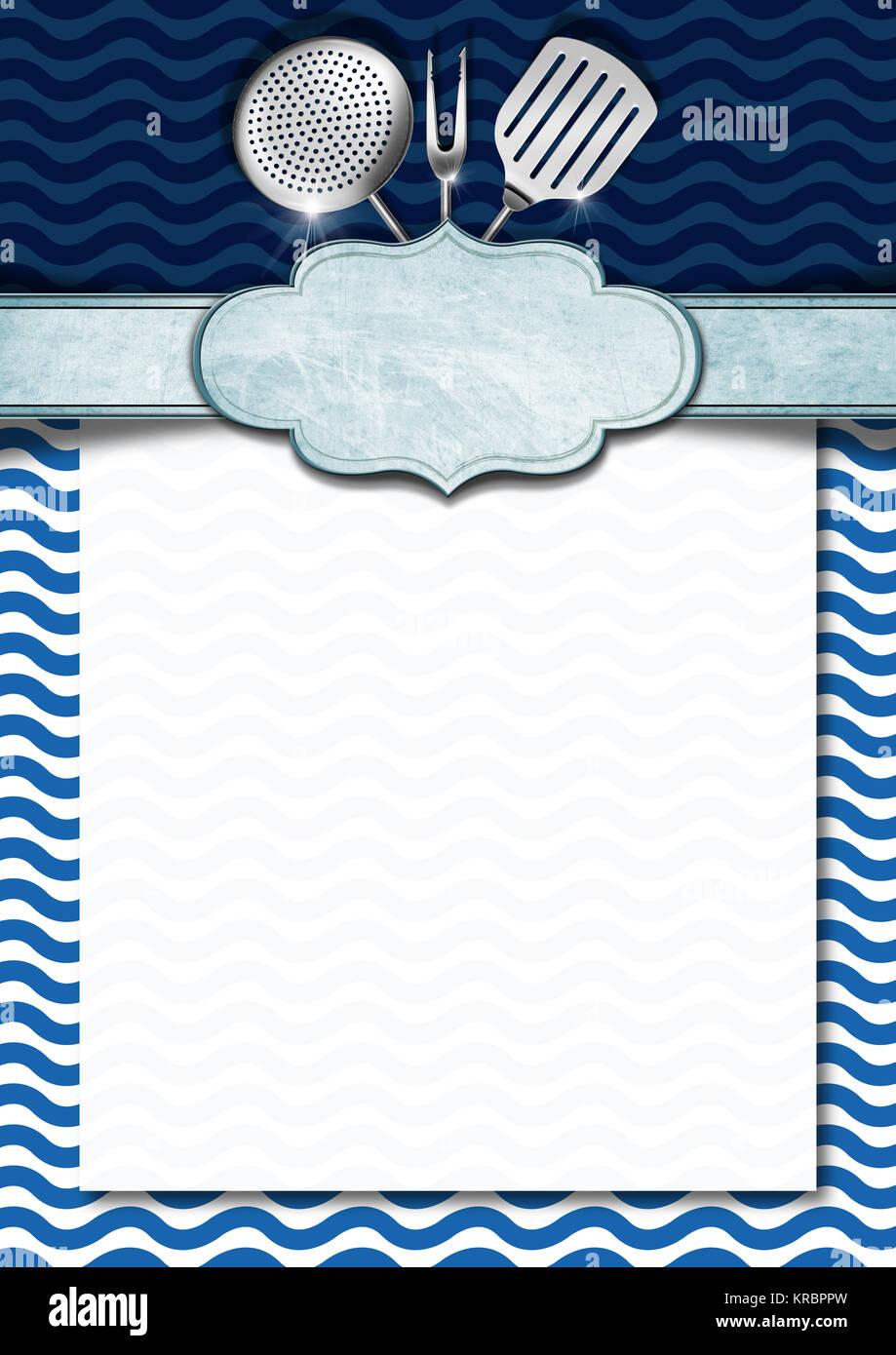 Blu E Sfondo Bianco Con Onde Stilizzate Utensili Da Cucina E