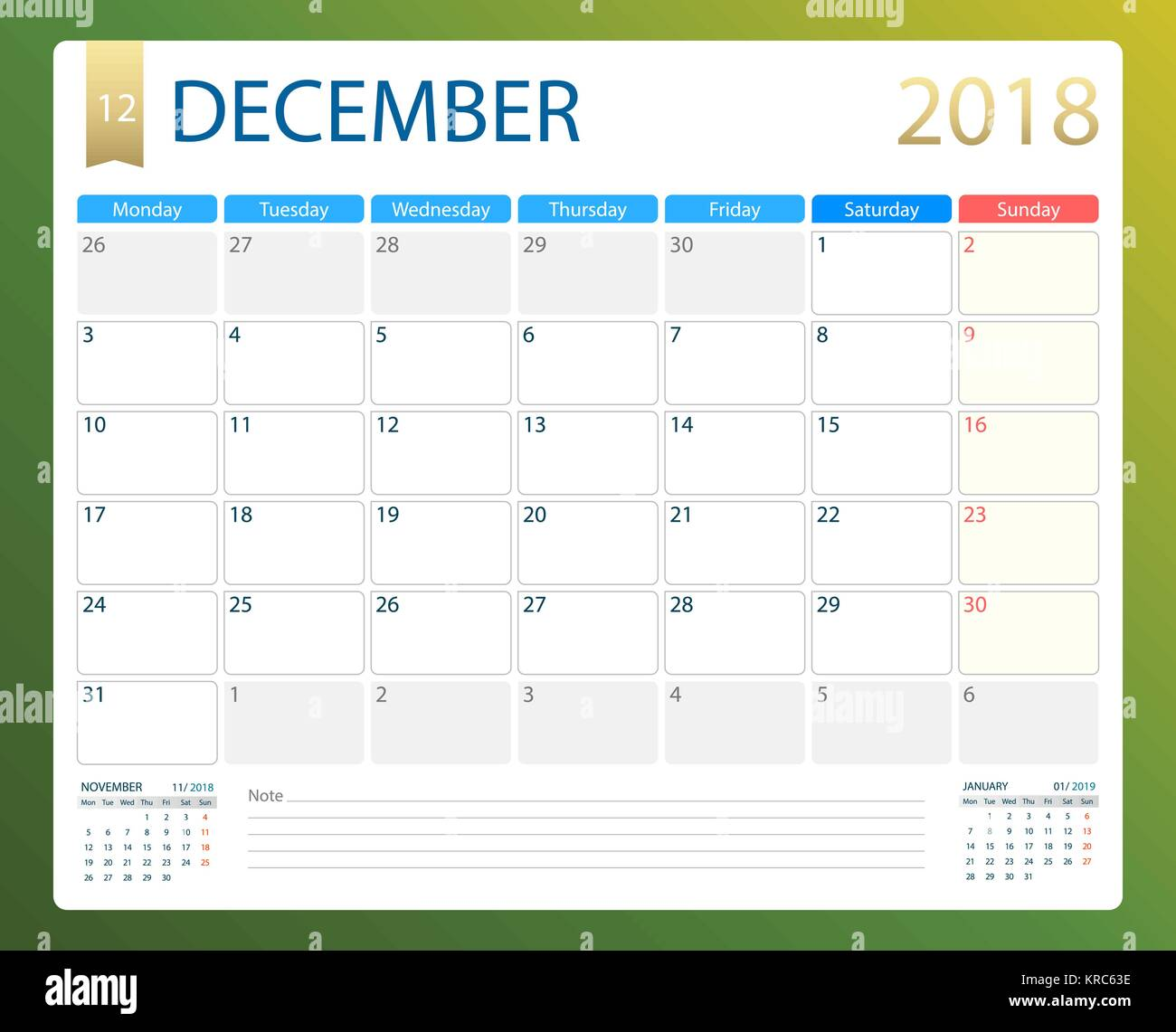 Calendario A Settimane.Dicembre 2018 Illustrazione Vettoriale O Di Calendario Desk