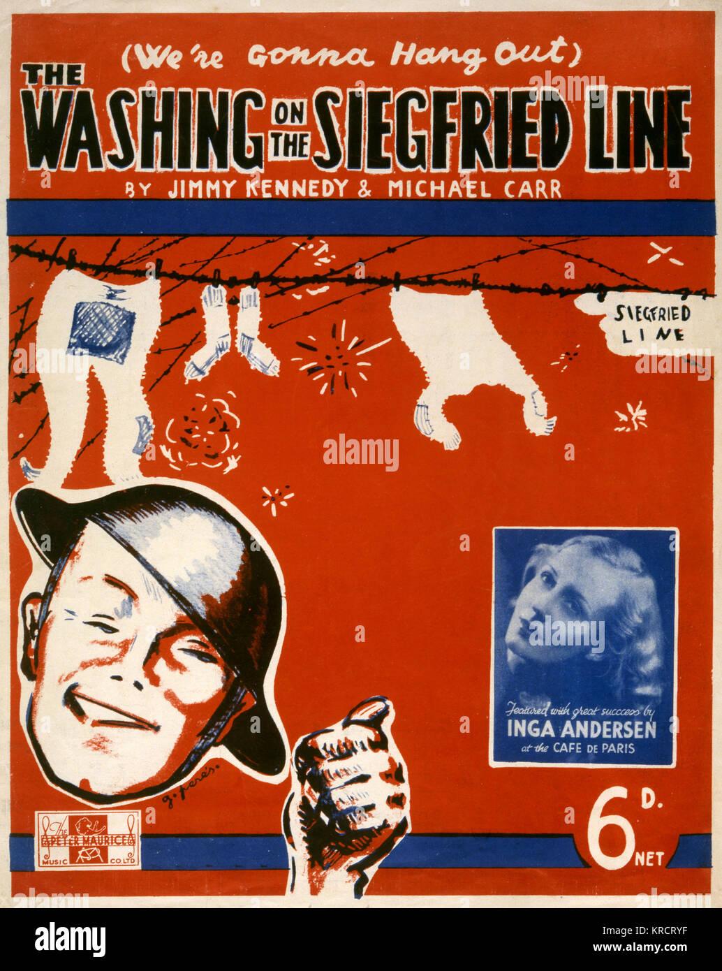 Una canzone durante la Seconda Guerra Mondiale ; '(stiamo andando appendere fuori) Il lavaggio sulla linea di Immagini Stock