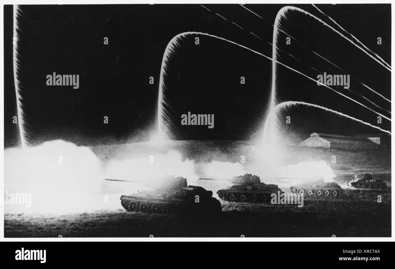 Durante la battaglia decisiva di Kursk, razzi di segnalazione luminosa sovietica un attacco notturno data: 1943 Immagini Stock