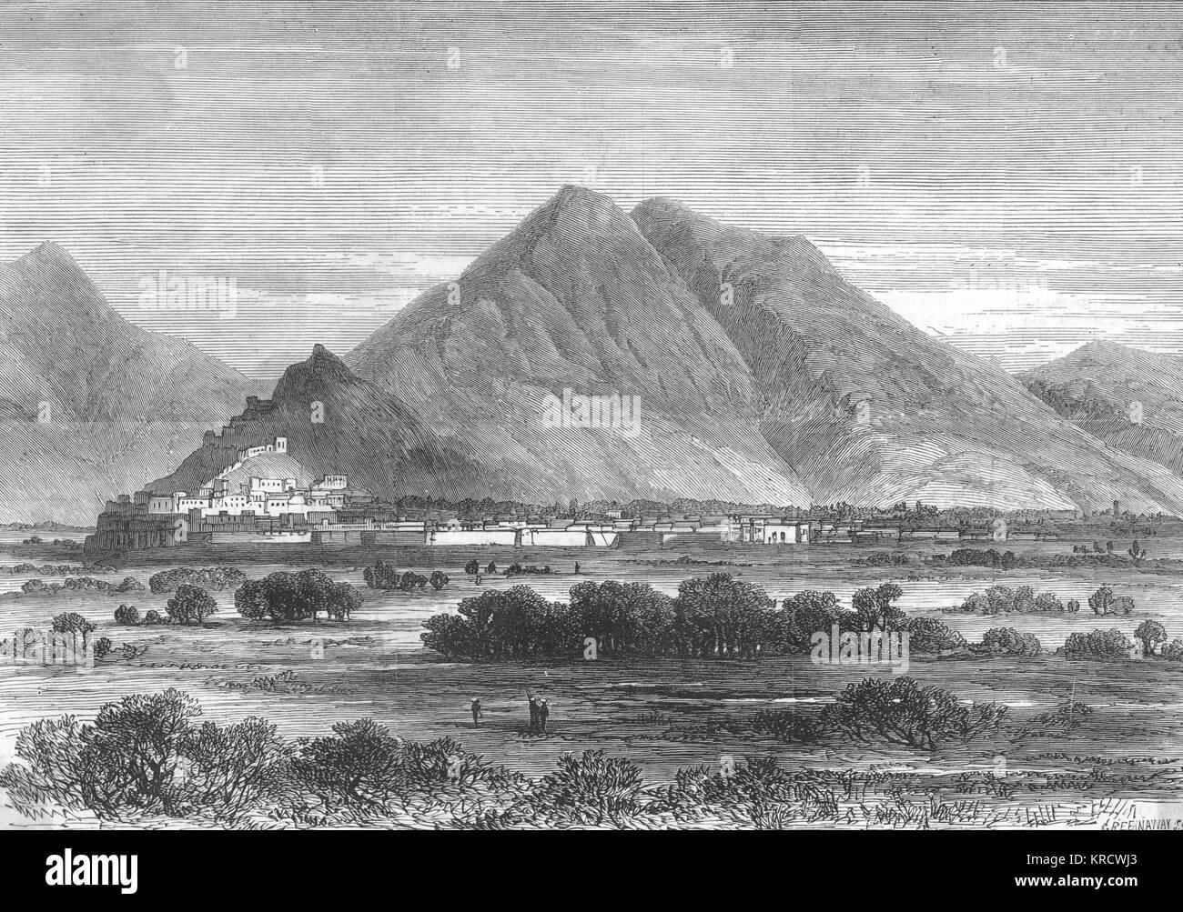 Kabul, capitale dell'Afghanistan, poi sotto la regola di Sher Ali, poco prima della seconda guerra in Afghanistan. Immagini Stock