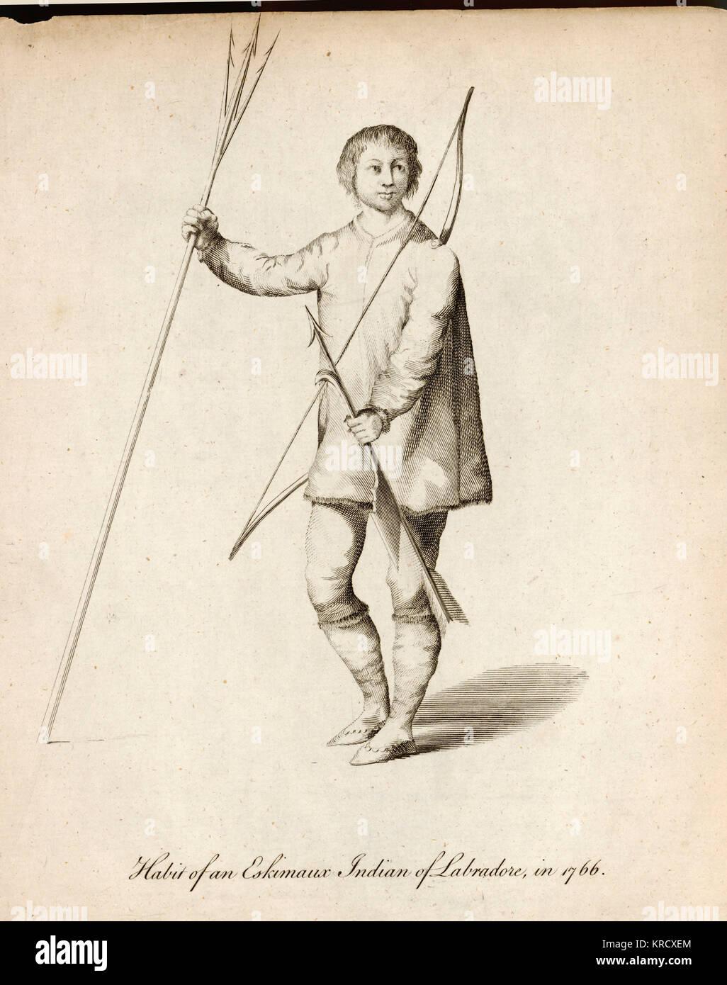 Eschimese nativi indiani del Labrador con armi da caccia. Data: 1766 Foto Stock