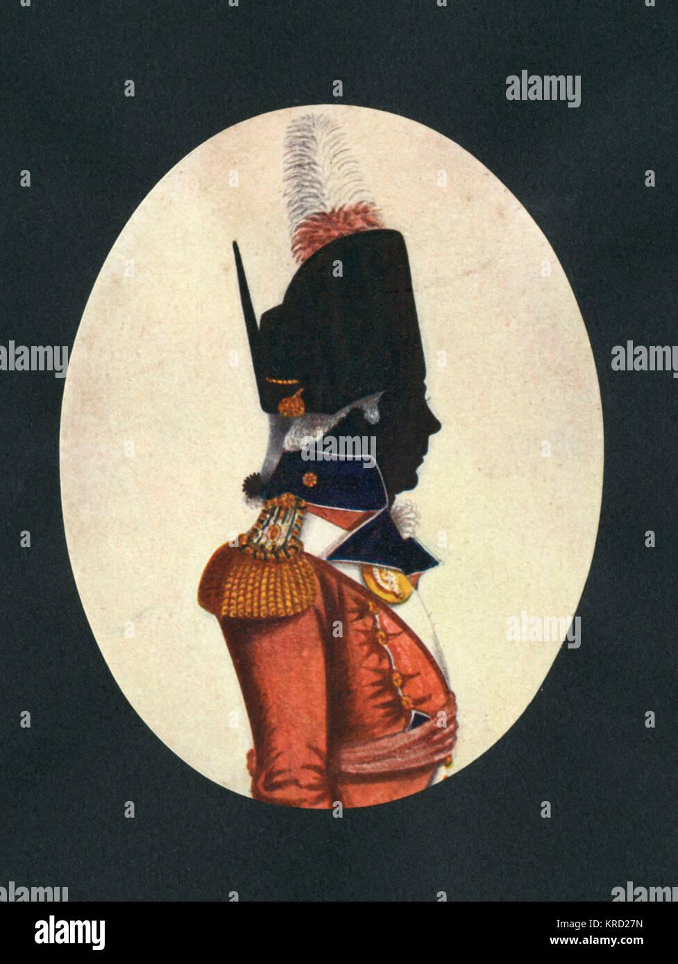 Silhouette Ritratto Di Un Privato In Un Reggimento Inglese Alla Fine