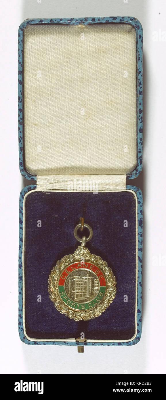 Medaglia di Celanese Sports Club, un club professionale gestito da dipendenti della British Celanese Chemical Company Immagini Stock