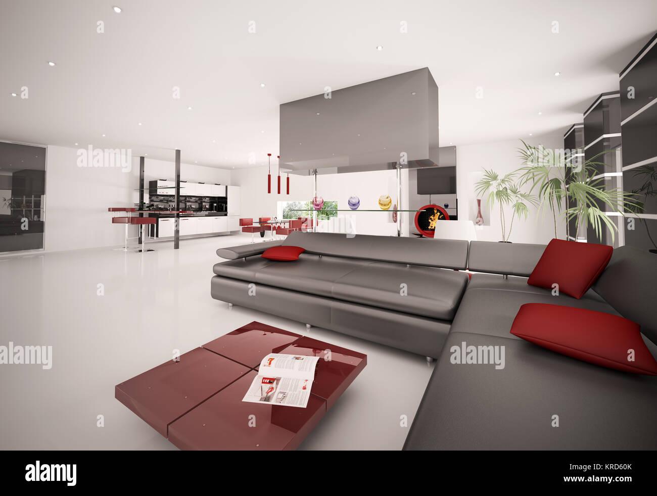 Interno del moderno appartamento soggiorno cucina 3D render Foto ...