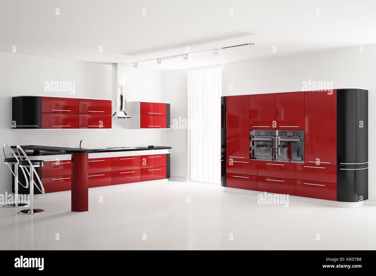 Interno del moderno rosso e nero cucina con tavolo bar e sgabelli