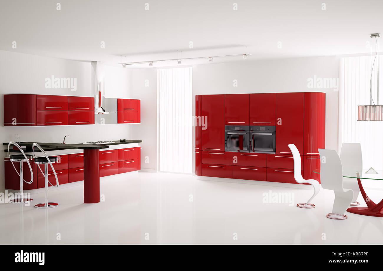 Interno del moderno rosso cucina con tavolo bar e sgabelli 3d foto