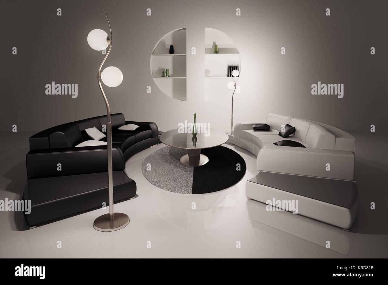 Divani Bianchi E Neri : Soggiorno con divani neri e bianchi interni 3d render foto