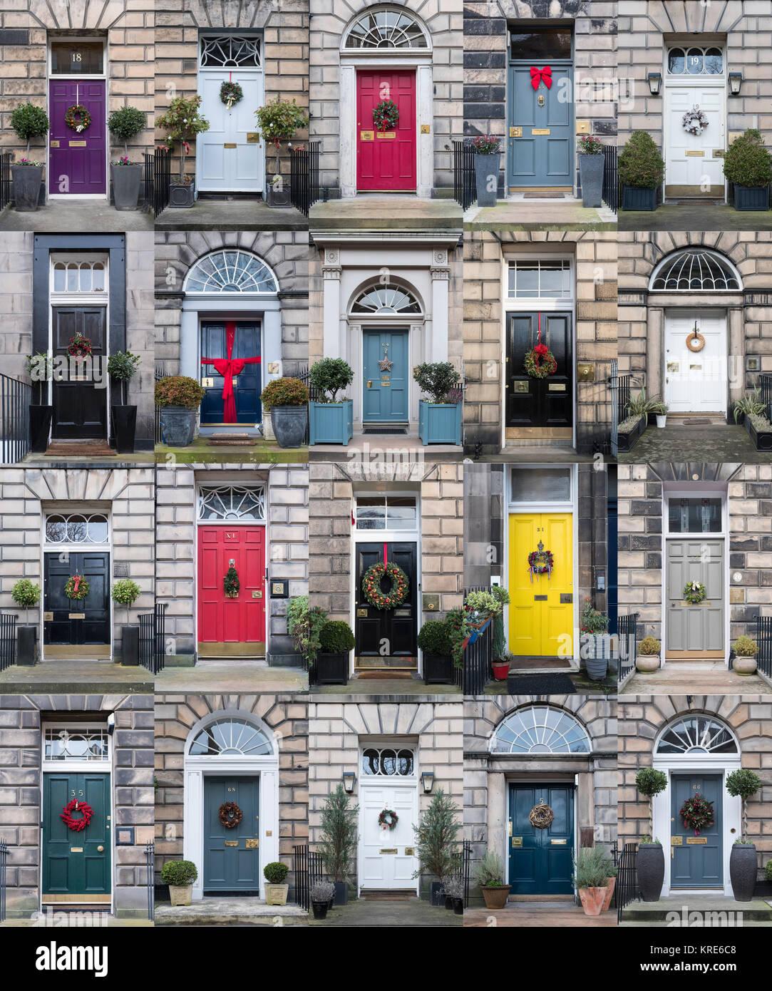 Collage di molte case con porte anteriori decorate a Natale nella New Town di Edimburgo , in Scozia, Regno Unito Immagini Stock