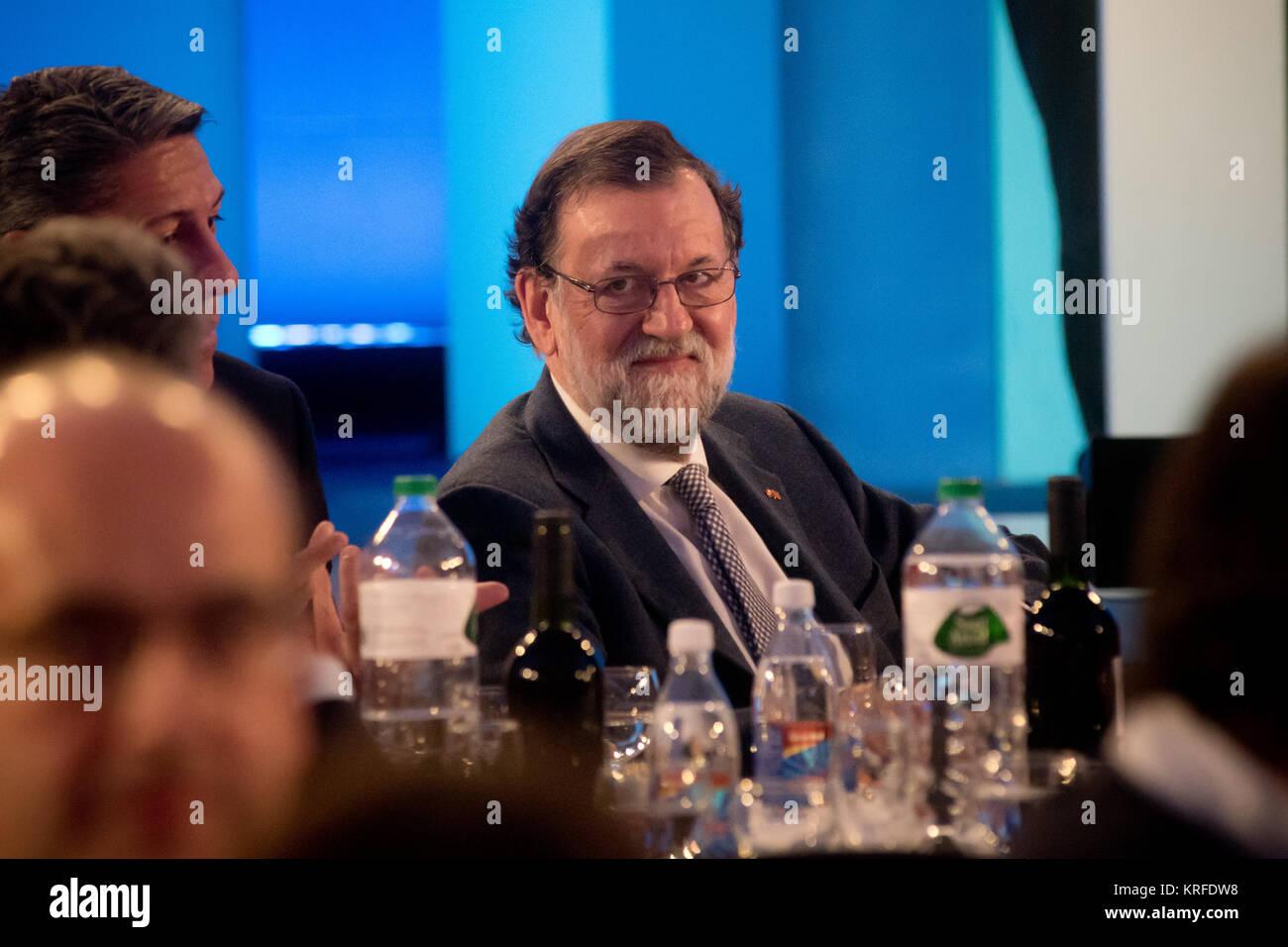 Barcellona, Spagna. Xix Dec, 2017. Il Primo Ministro spagnolo Mariano Rajoy partecipa alla campagna di chiusura Immagini Stock