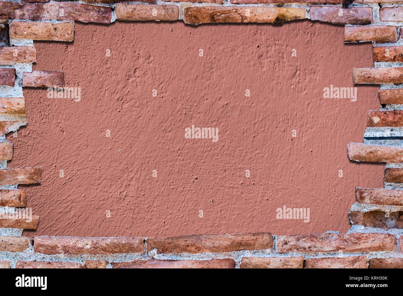 Rosso Antico Muro Di Mattoni Sopra Lo Sfondo Rosa Foto Immagine