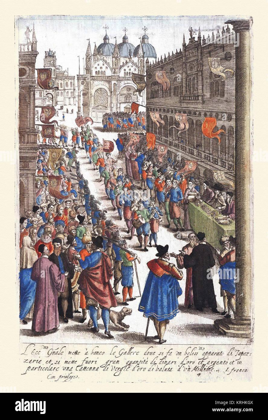 Desfile & fiesta veneciana-Habiti d'hvomeni et donne venetiane 1609 Immagini Stock