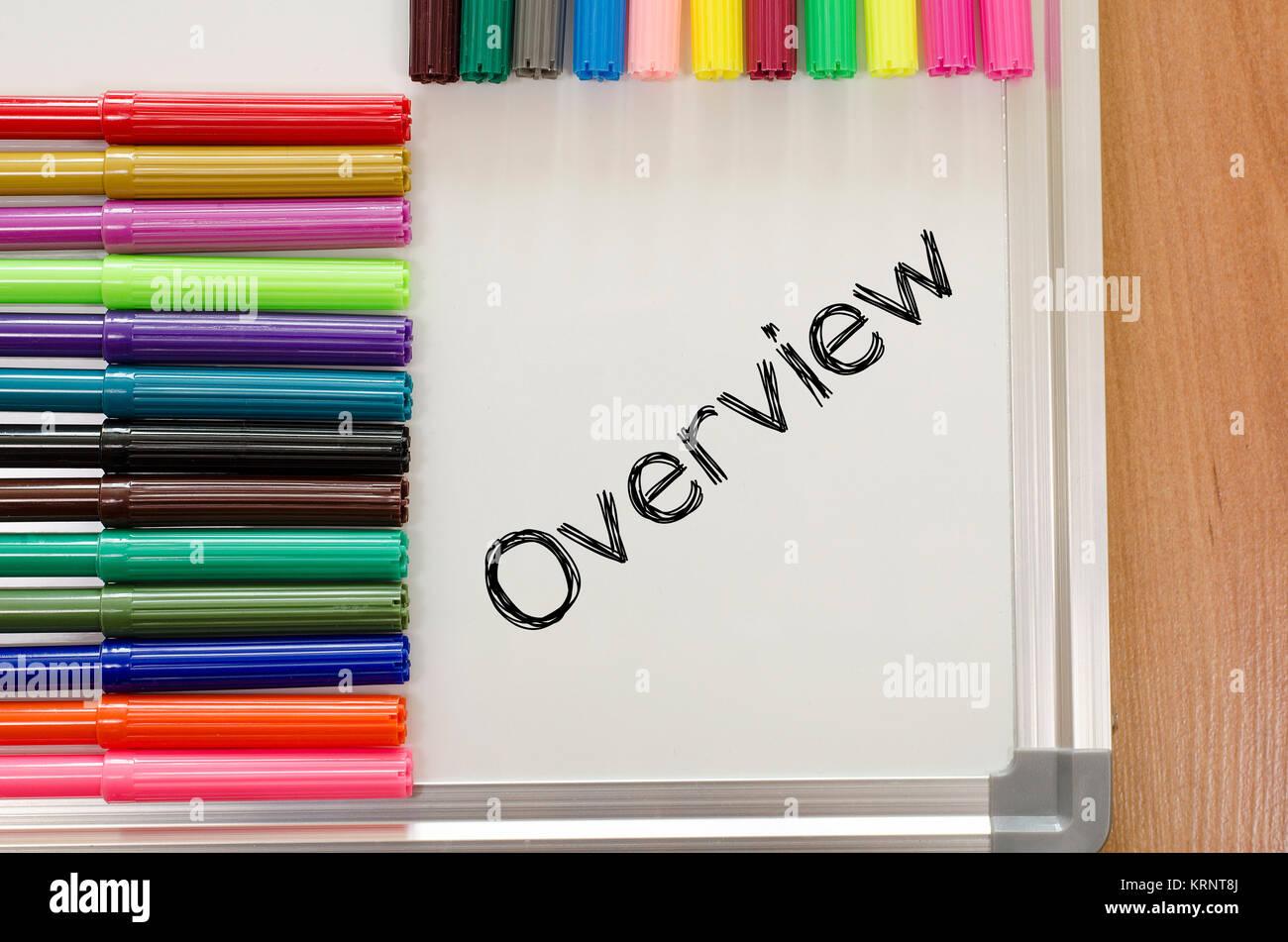 Panoramica scritto su whiteboard Immagini Stock