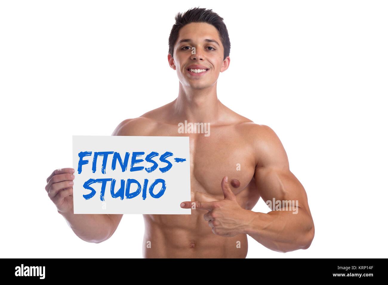 Bodybuilding culturista muscoli studio fitness Palestra scudo edificio corpo uomo muscoloso Immagini Stock
