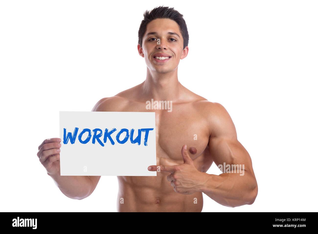 Bodybuilder bodybuilding allenamento dei muscoli del corpo di protezione edificio uomo forte muscolare taglio giovani Immagini Stock