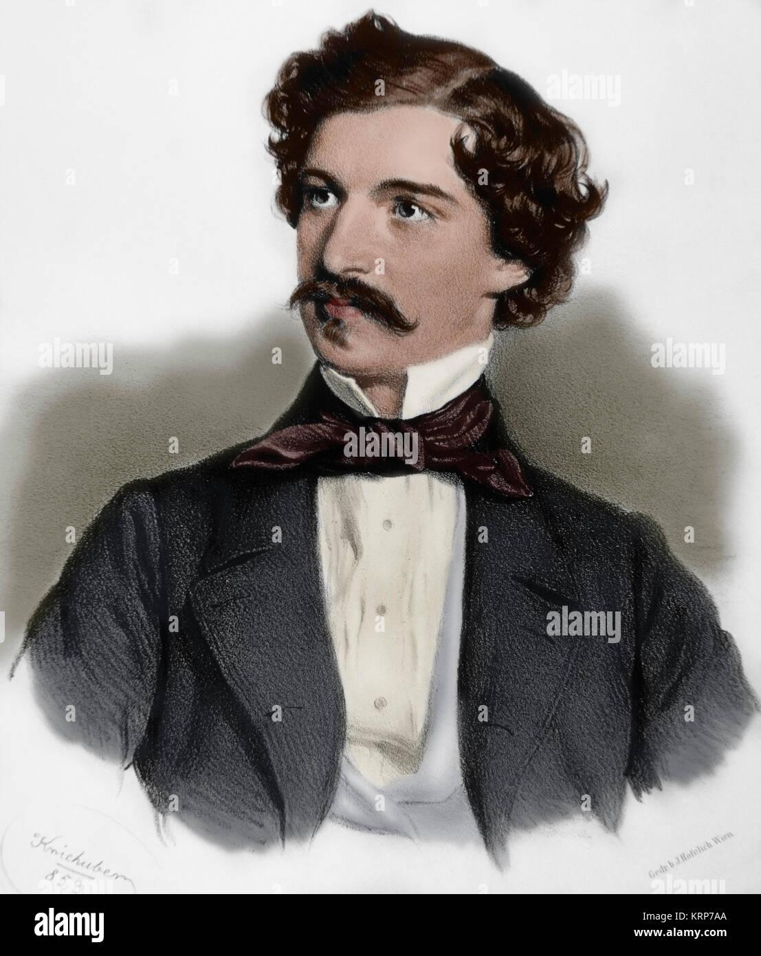 Johann Strauss II (1825-1899). Il compositore austriaco di musica leggera. Ritratto. Incisione di Joseph Kriehuber Immagini Stock