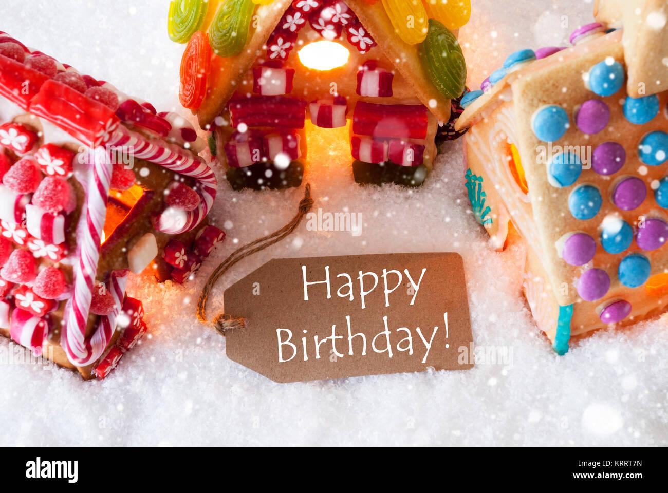 Lettera Di Auguri Di Natale In Inglese.Etichetta Con Testo In Inglese Buon Compleanno Coloratissima Casa