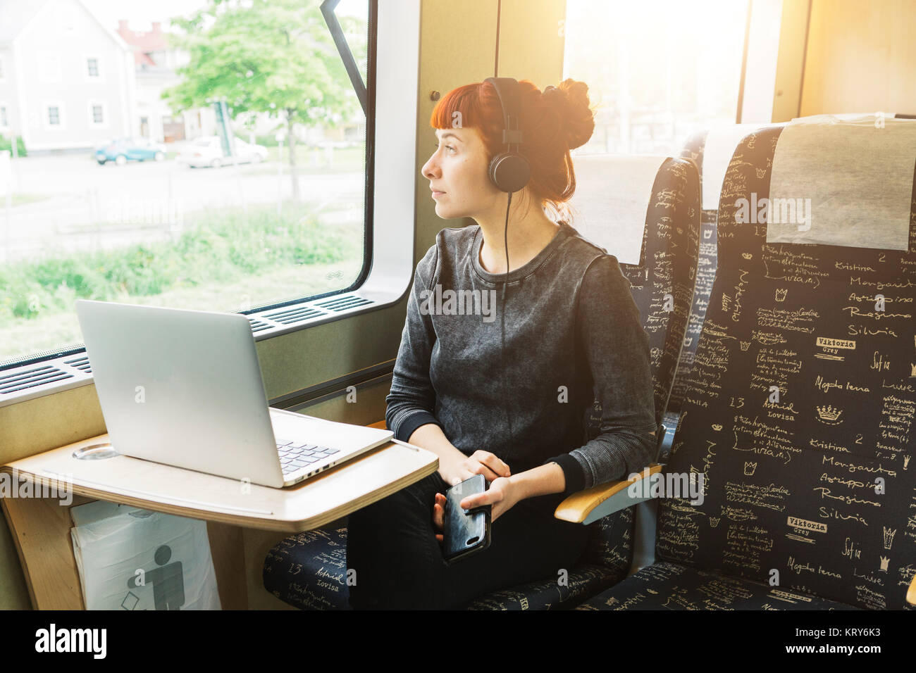 Donna che utilizza sul computer portatile sul treno Immagini Stock