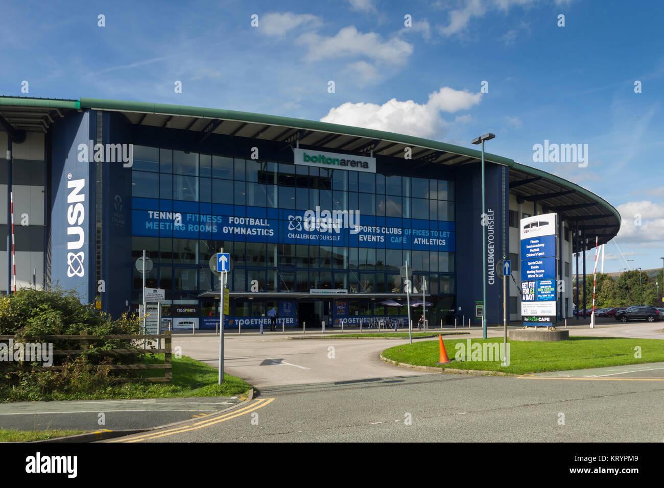 Bolton Arena indoor sports arena a Middlebrook Retail e Leisure Park, Horwich. I servizi includono centro fitness Immagini Stock