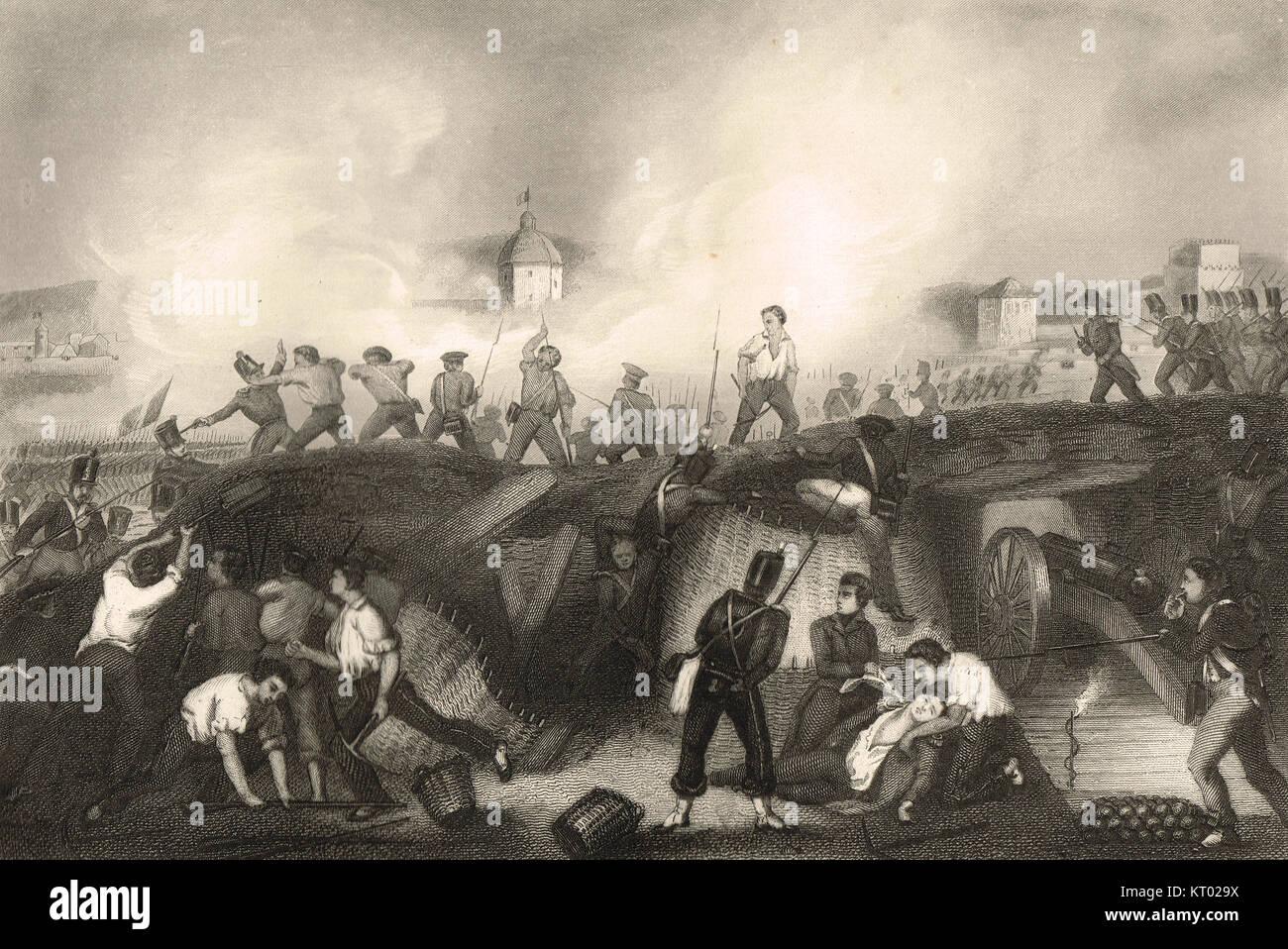Assedio di Ciudad Rodrigo, storming la fortezza, 19 Gennaio 1812 Immagini Stock