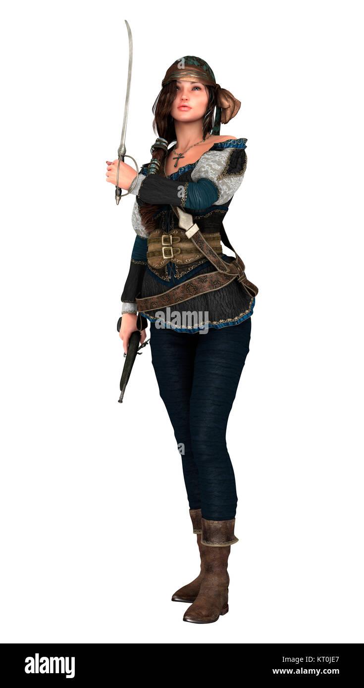 3D Rendering Pirate donna su bianco Immagini Stock